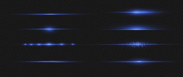 파란색 수평 렌즈 플레어 팩. 레이저 빔, 수평 광선, 아름다운 조명 플레어. 어두운 배경에 빛나는 줄무늬. 빛나는 추상 반짝 줄 지어 배경.