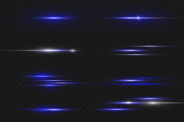 파란색 수평 렌즈 플레어 팩. 레이저 빔, 수평 광선. 아름다운 빛 플레어. 어두운 배경에 빛나는 줄무늬. 빛나는 추상 반짝이 줄지어 배경.