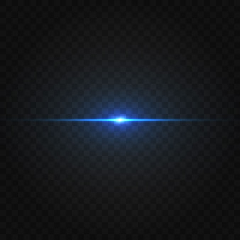 Blue horizontal lens flares pack. laser beams, horizontal light rays. beautiful light flares.