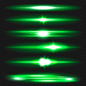 Blue horizontal lens flares pack. laser beams, horizontal light rays.