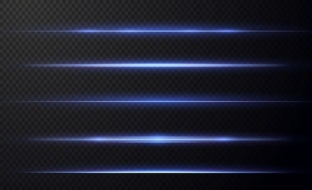 Blue horizontal lens flares pack laser beams horizontal light raysbeautiful light flares Premium Vector
