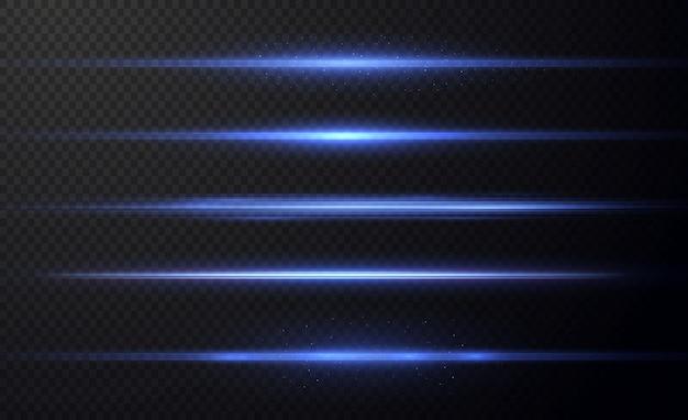 Blue horizontal lens flares pack laser beams horizontal light raysbeautiful light flares