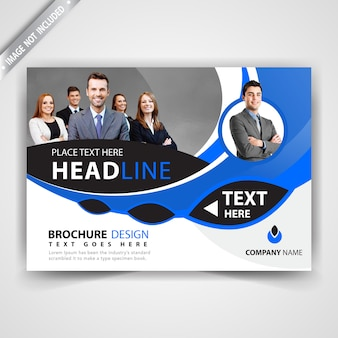 Blue horizontal magazine template