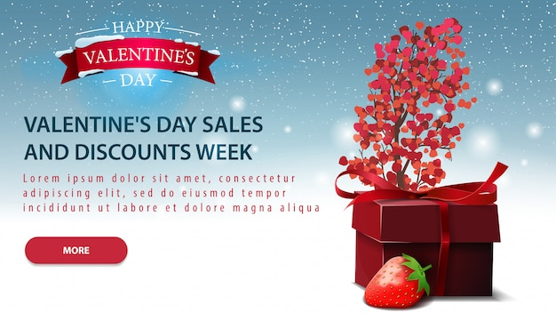Blue horizontal valentine's day discount card