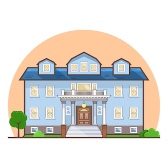 Blue house flat design