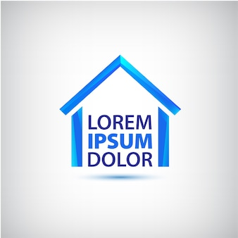 灰色で隔離あなたの会社の青い家のロゴ
