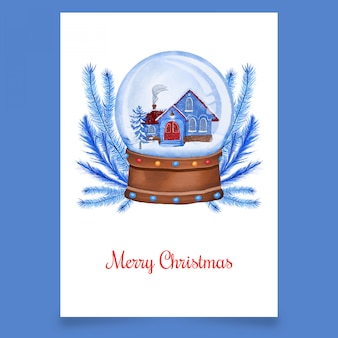 Blue house in snow globe