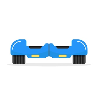 Blue hoverboard with shadow. concept of motorbike, innovation, sport, gyroscope, tire, street activity, machine, gadget. isolated on white background. flat style trend logo design vector illustration