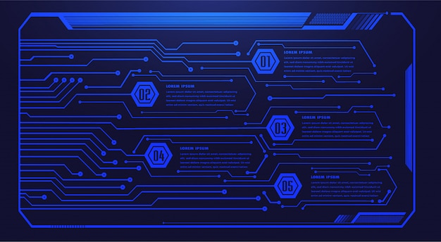 Blue hud cyber circuit future technology concept background, text box