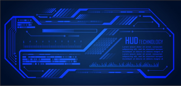 Blue hud cyber circuit future technology concept background