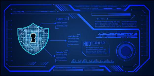 Blue hud кибер-схема будущей технологии фон, закрытый замок