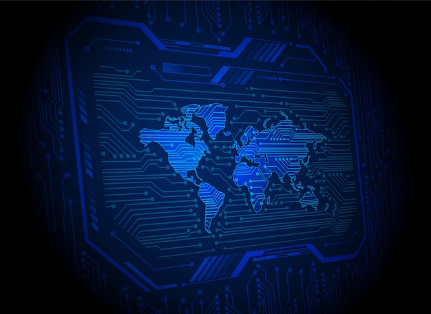 Технология будущего печатной платы мира, предпосылка кибербезопасности blue hud,