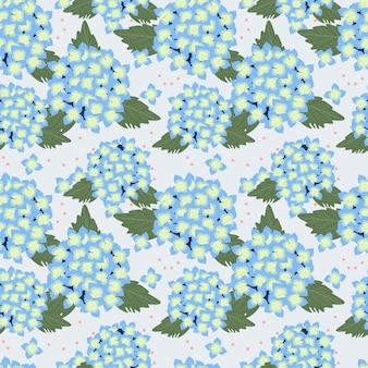 Blue hydrangea seamless pattern.
