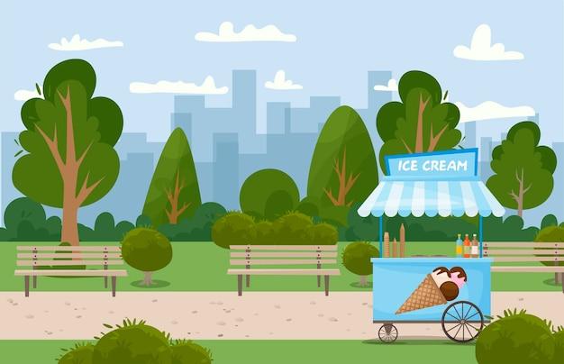 Blue ice cream cart with ice cream cone on the roof. street kiosk