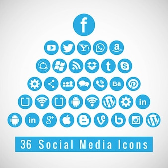 Blue icons for social networks