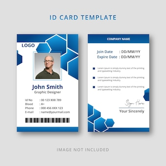 Blue id card gradient template