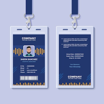 Blue id card template with yellow graphics