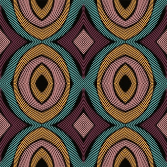 Blue ikat ethnic seamless pattern.