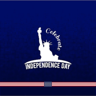 Blue independence day design with liberty statue