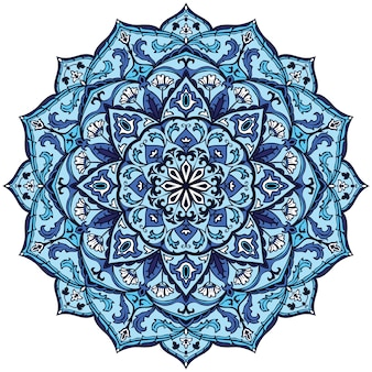 블루 인도 만다라 디자인