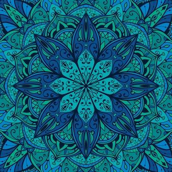 Blue indian pattern with mandala design