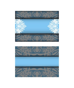 Blue indian white pattern brochure template prepared for typography.