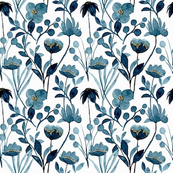 Blue indigo floral watercolor seamless pattern