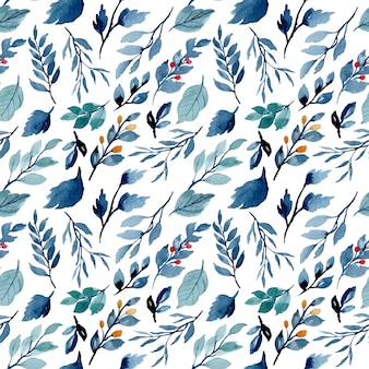 Blue indigo leaves watercolor seamless pattern