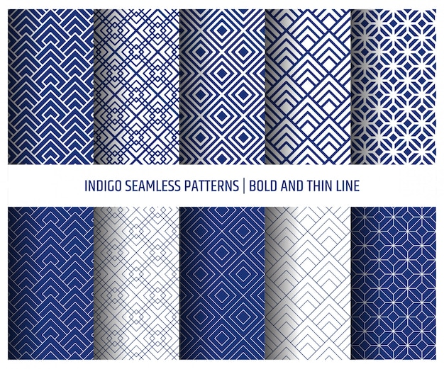 Blue indigo seamless pattern, wallpaper