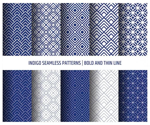 Blue indigo seamless pattern, wallpaper