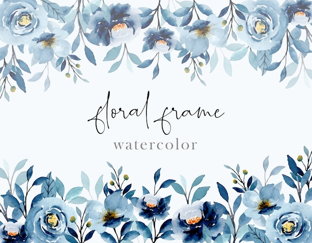Blue indigo watercolor floral abstract background