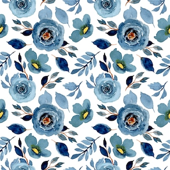 Blue indigo watercolor floral seamless pattern