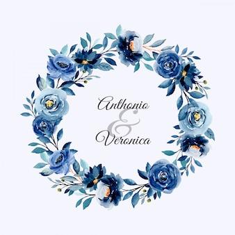 Blue indigo watercolor floral wreath