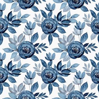 Blue indigo watercolor flower seamless pattern