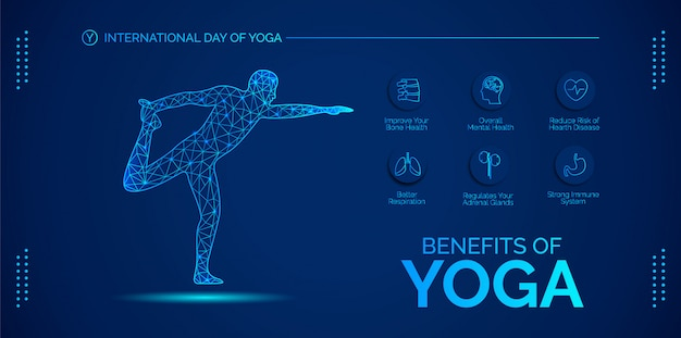 Blue  infographic about the benefits of yoga.  design for banners, backgrounds, posters or cards.