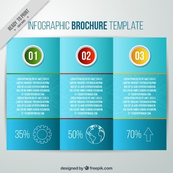 Blue infographic brochure with steps