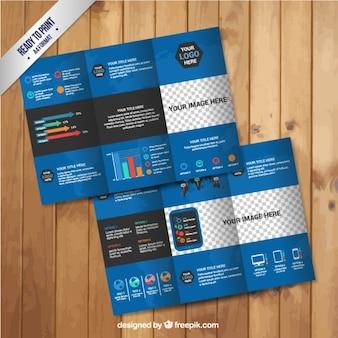 Синий инфографики брошюра