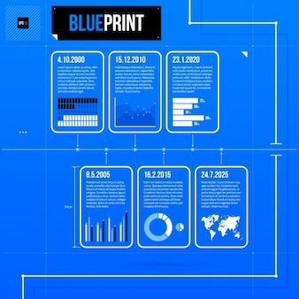 Blue infographic charts template