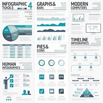 ビジネスinfographsのための青infographicsベクトル要素