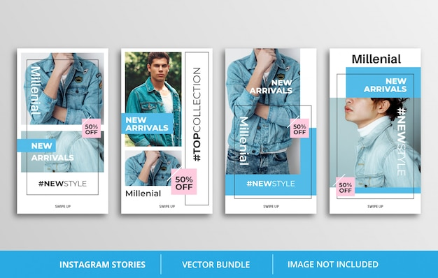 Blue instagram stories template