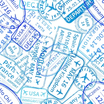 Blue international travel visa rubber stamps imprints on white, seamless pattern