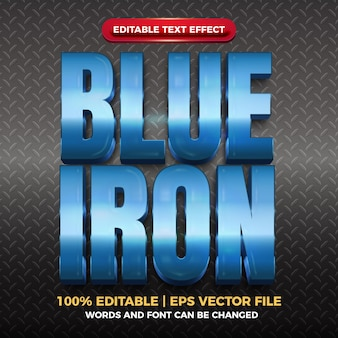 Blue iron glossy editable text effect