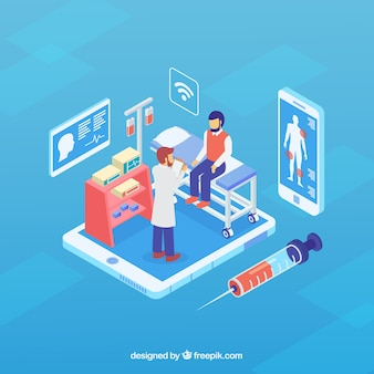 Blue isometric online doctor concept