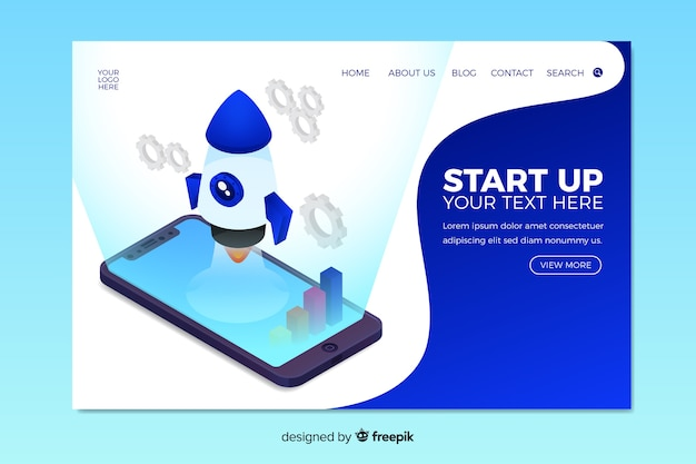 Blue isometric startup landing page