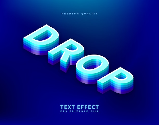 Blue isometric text style with drop shadow