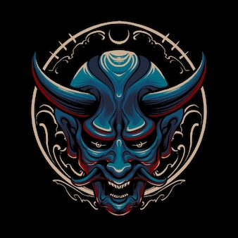 Blue japanese devil illustration design