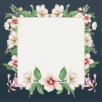 Blue japanese floral frame art print, remix from artworks by megata morikaga