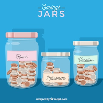 Blue jars background with savings