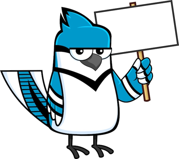Blue jay bird cartoon character with blank sign