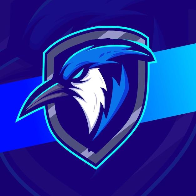 ブルージェイバードヘッドマスコットeスポーツロゴデザインシールド付きゲームとスポーツのロゴ